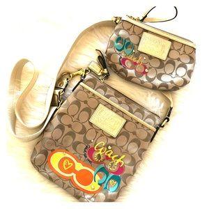 COACH PoPpy signature appliqué bag & wristlet